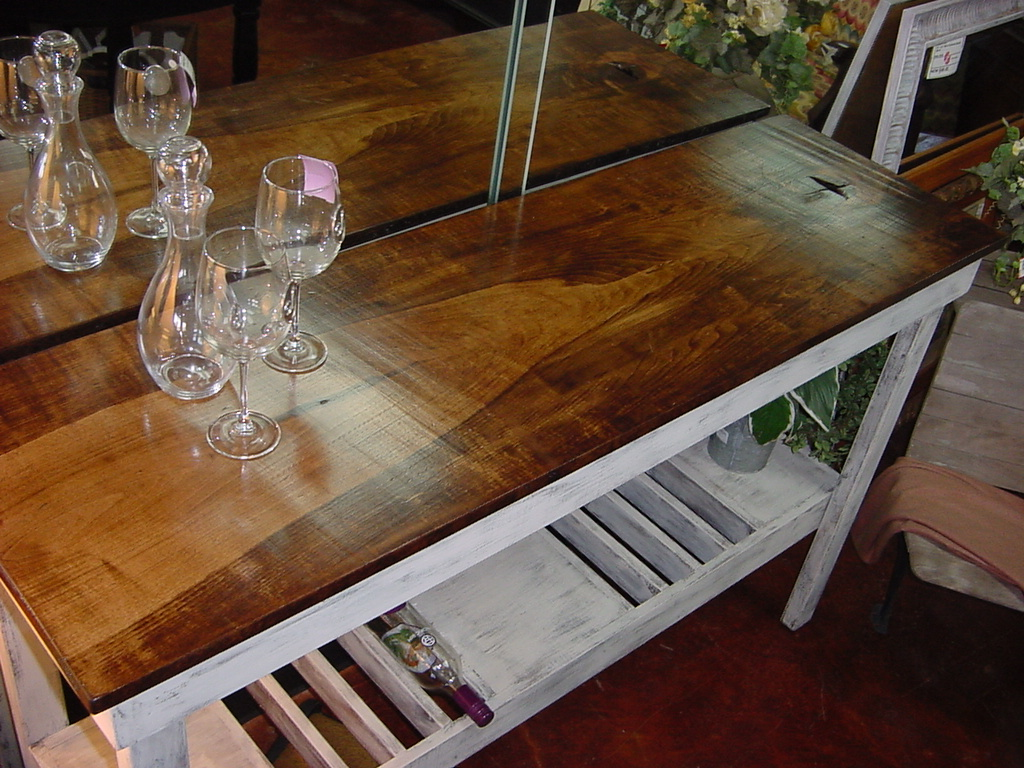 Single Plank HARDWOOD TOP Wine Bar - Buffet Table