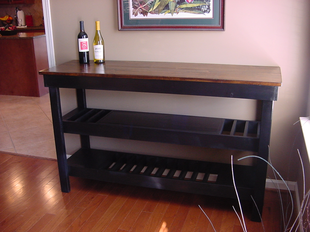 Dark Stained Maple Top Wine Bar with Dual Wine Storage Shelves