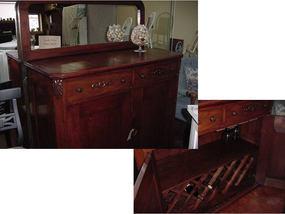 Rebuilt ANTIQUE WINE BUFFET BAR with New MIRROR and PLENTY of STORAGE