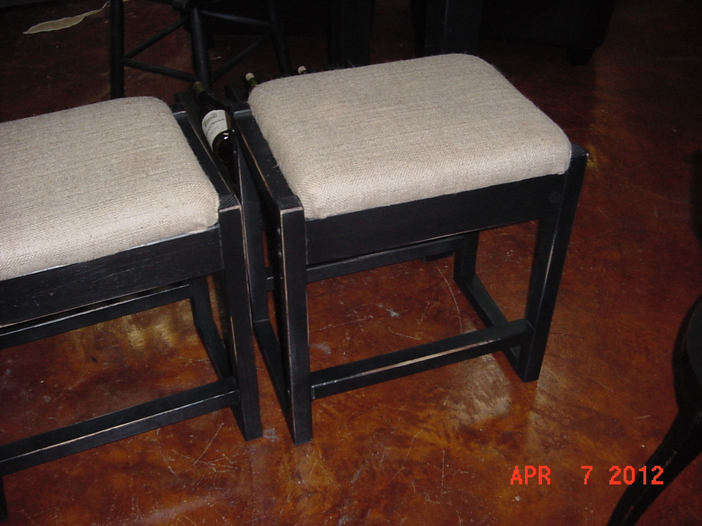 BURLAP COVERED BAR STOOLS in Distressed Black