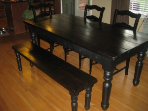 Thick Pine Top FARM TABLE with MATCHING BENCH