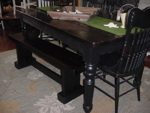 HAND BUILT COUNTRY FARM TABLE & BENCH