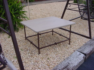 OUTDOOR or INDOOR TABLE on FORGED IRON BASE