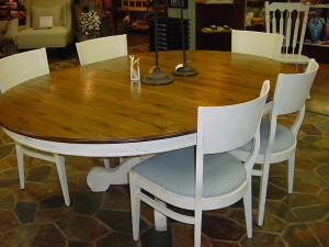 "54"" Pedestal Table, 2 Leaves, 6 Upholstered Matching Chairs"