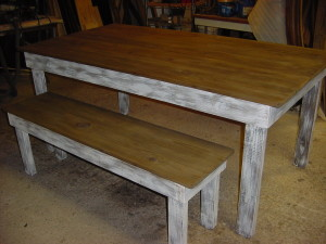 Rustic Hand Built Farm Table w/ Matching Bench