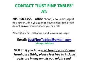CONTACT to JUST FINE TABLES