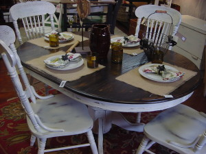 "42"" Round Table w/ 18"" Leaf and 4 Matching Chairs"