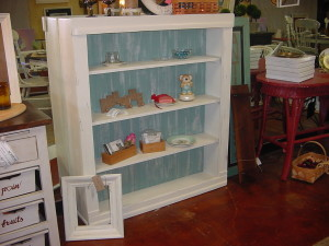 DISTRESSED 'COTTAGE WHITE' BOOKCASE w/ Distressed BLUE Bead board Back