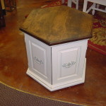 "HEXAGONAL SIDE TABLE w/ 2 DOOR STORAGE (~24"" X 26"")"