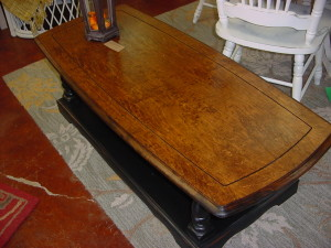 "24"" x 54"" Stained Top Coffee Table w/ Distressed Black Base"