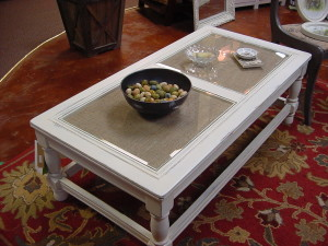 "Distressed ""Coffee Table"", Cottage White w/ Glass Inserts over Burlap"