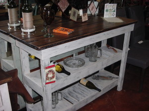 10 Bottle - 2 Shelf Wine Bar- Buffet Bar w/ Distressed Solid Oak Top