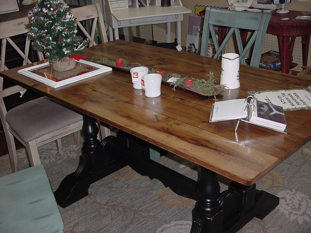 "HICKORY TOP TRESTLE TABLE (35""X66"") SEATS SIX EASILY"
