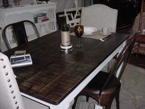 'ROUGH CUT' ASH TOP FARM TABLE (SEATS SIX(6))