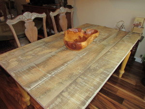 Unfinished Rough Ash Top Table In Customer's Home at Delivery