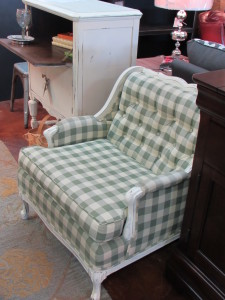 French Style Distressed Upholstered Arm Chair