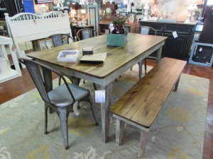 RUSTIC FARM TABLE w/ MATCHING BENCH