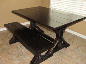 TRESTLE FARM TABLE AND BENCH in Customer Home