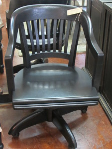 ANTIQUE BLACK ROLLING OFFICE ARM CHAIR