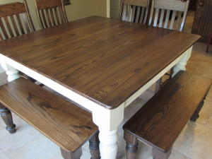 FARM HOUSE TABLE with MATCHING BENCHES