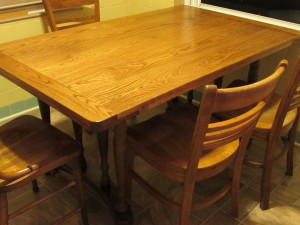 "HANDMADE TRESTLE KITCHEN TABLE (36"" X 60"")"