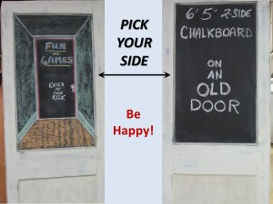 TWO-SIDED OLD 'SWINGING' DOOR CHALKBOARD / DISPLAY