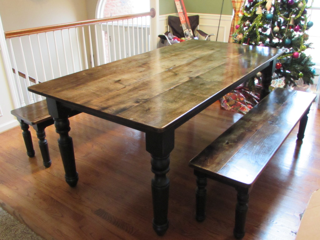 "FARM TABLE (39"" x 78"")-- BENCHES (Approx: 14"" x 64"" each)"