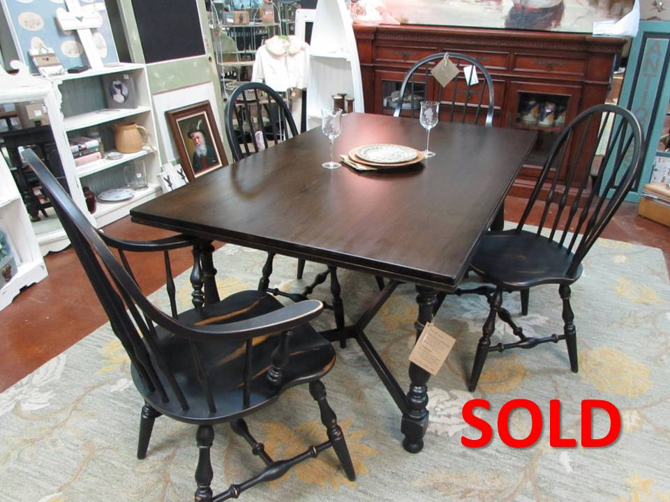 "VINTAGE ""ETHAN ALLEN"" TABLE AND MATCHING CHAIRS"