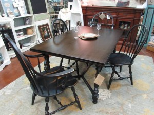 "REFINISHED VINTAGE ""ETHAN ALLEN"" TABLE AND CHAIRS"