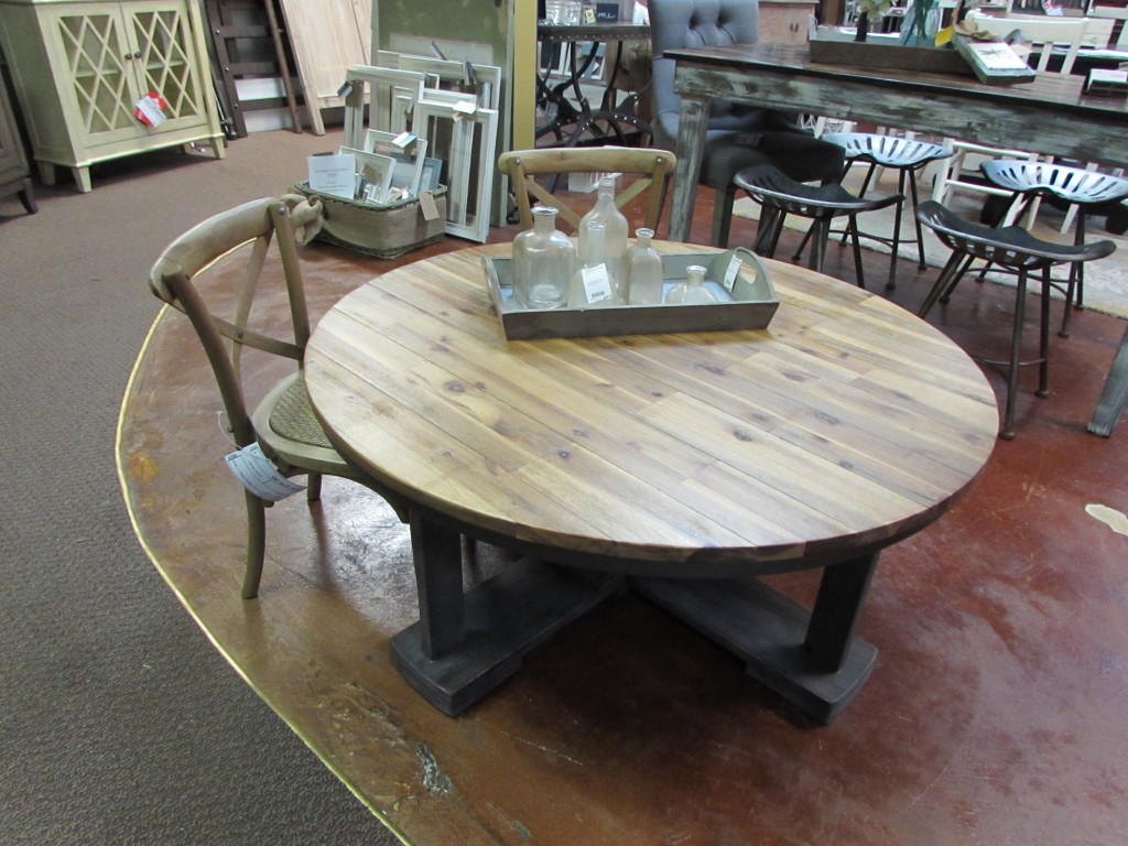 "42"" ROUND COFFEE TABLE (ALL WOOD w/ METAL BAND)"