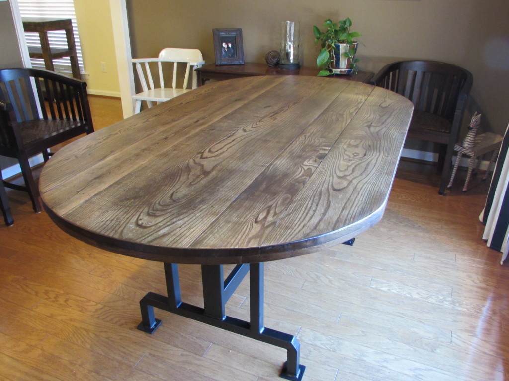 "HANDMADE RUSTIC OBLONG DINING TABLE on CUSTOM METAL BASE (42"" x 74"" x 31"")"