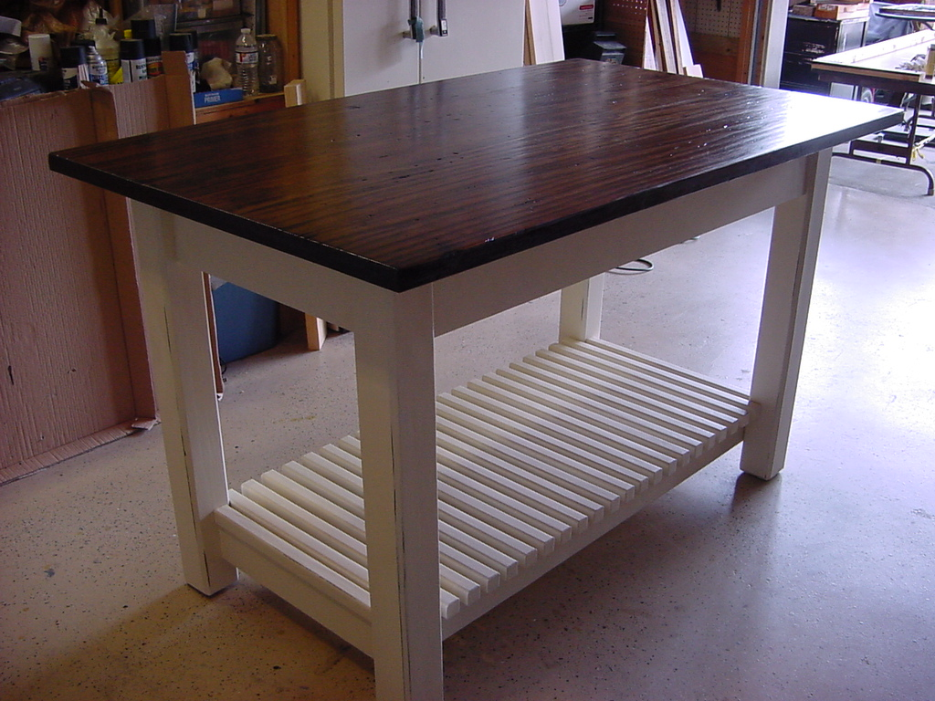 Kitchen Island Table With Basket Shelf Just Fine Tables