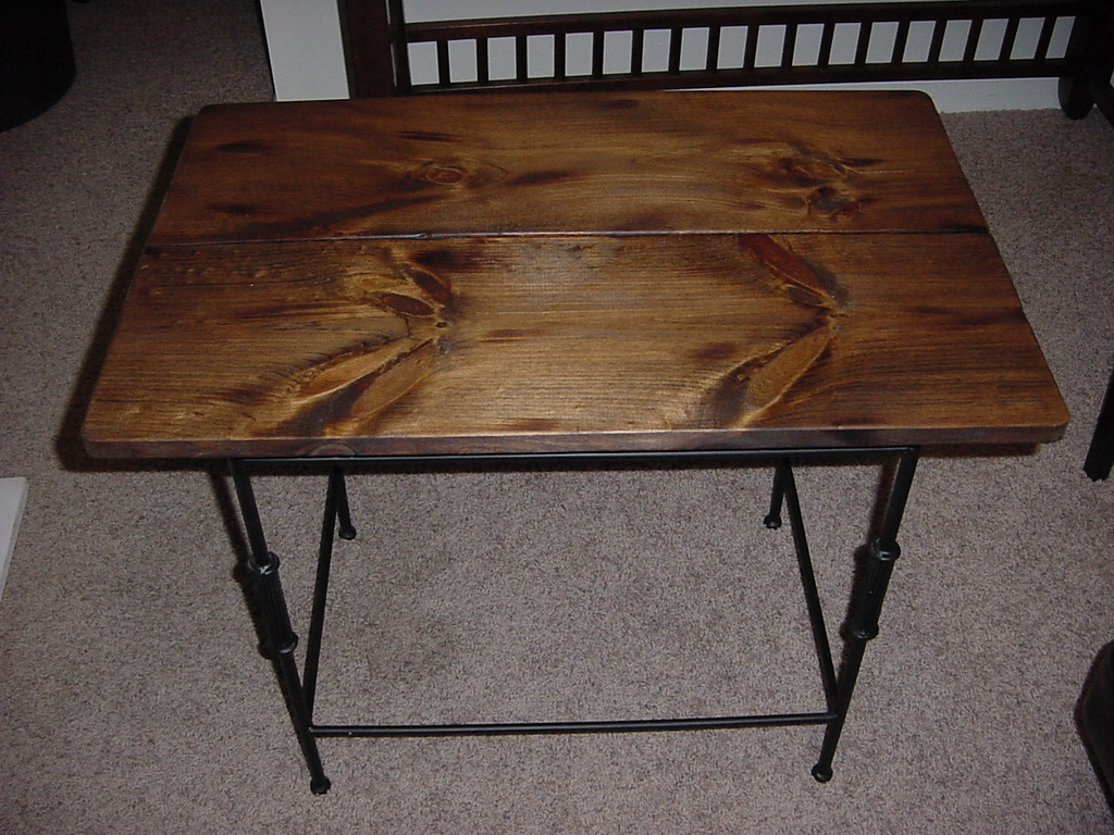 Custom Stained Wood Top Side End Table On Metal Base Just Fine Tables