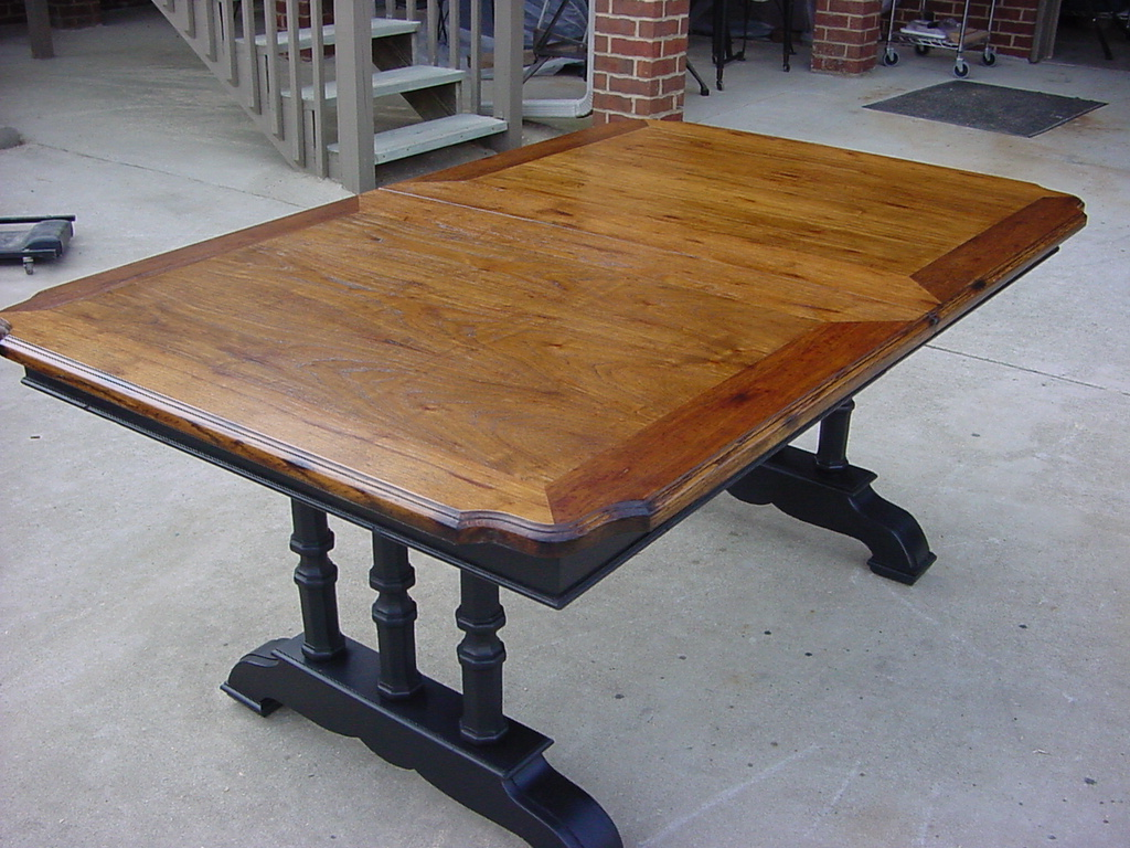 Refinished Patterned Oak Veneer Top TRESTLE DINING TABLE Just Fine Tables