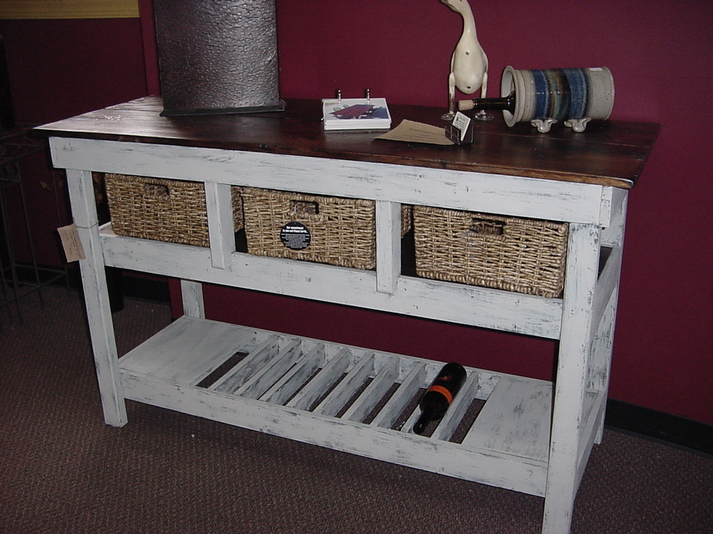 Distressed Pine Top Wine Bar- Buffet Table with 16 Basket Drawers ...