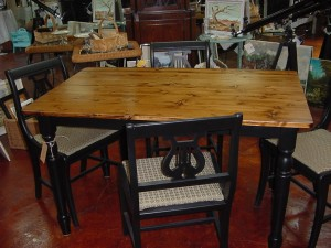 Country FARM TABLE With Four 4 Black Upholstered Harp Back Chairs