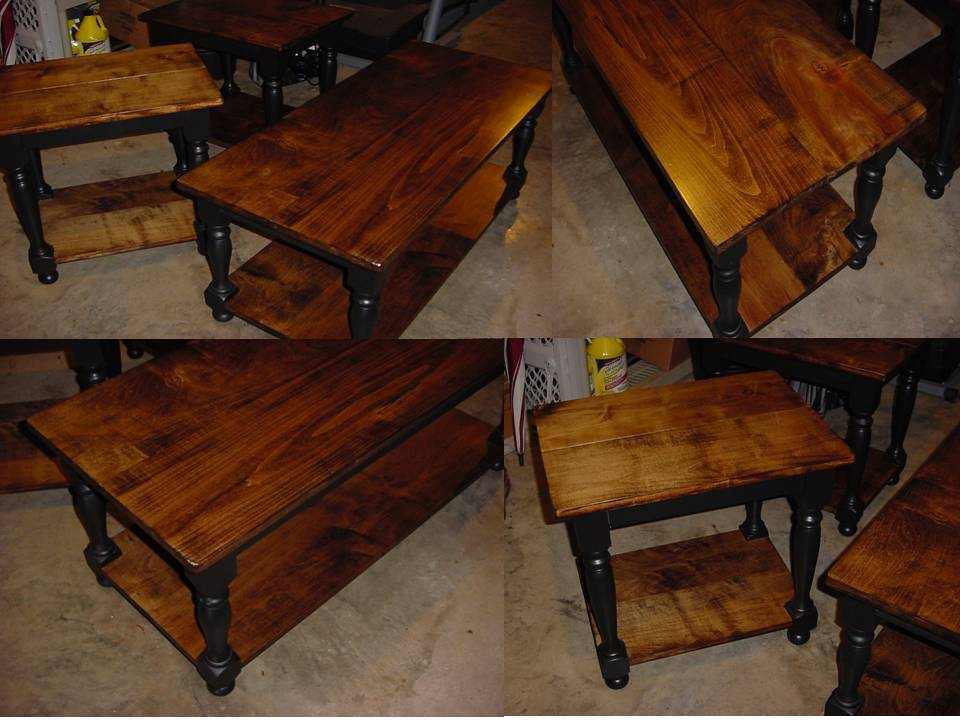 Custom MAPLE TOP Coffee Table With Matching End / Side Tables