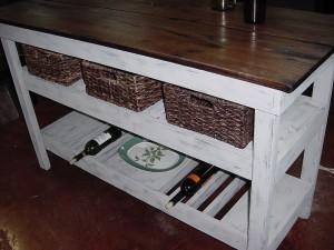 Barn wood farm table and basket shelf wine bar buffet - Birmingham craigslist farm and garden ...