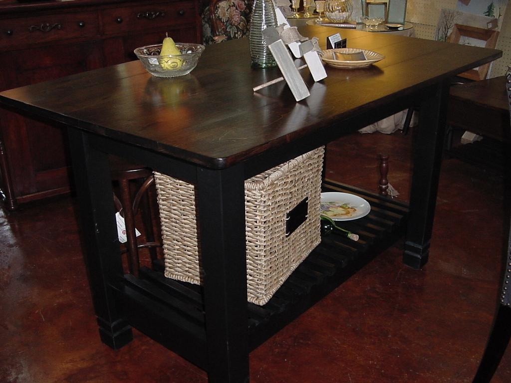 Handmade kitchen island table with shelf just fine tables for Handmade kitchen table