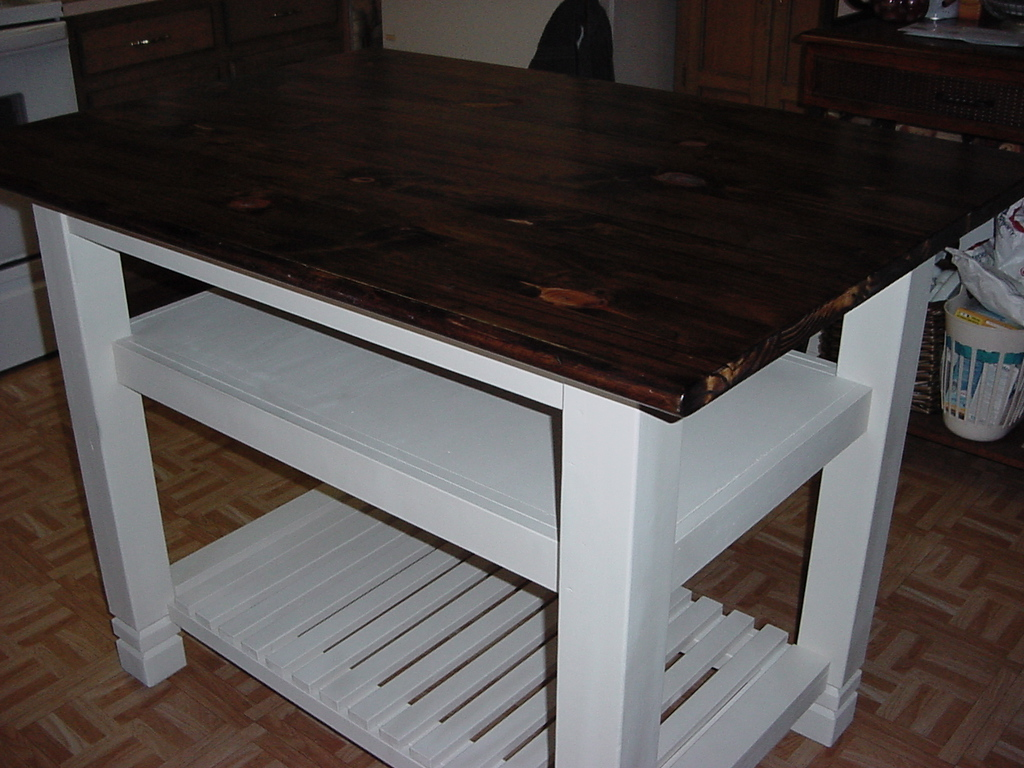 3′ x 4′ Handmade PINE TOP KITCHEN ISLAND with Two Shelves | Just ...