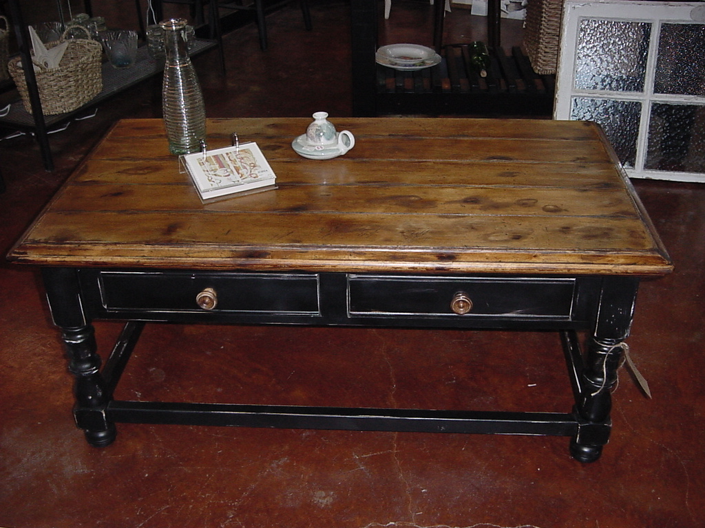 2 drawer semi man cave refinished coffee table just fine tables - Refinished kitchen tables ...