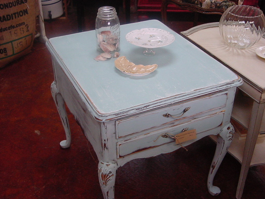 Distressed Blue Drexel Side Table Just Fine Tables