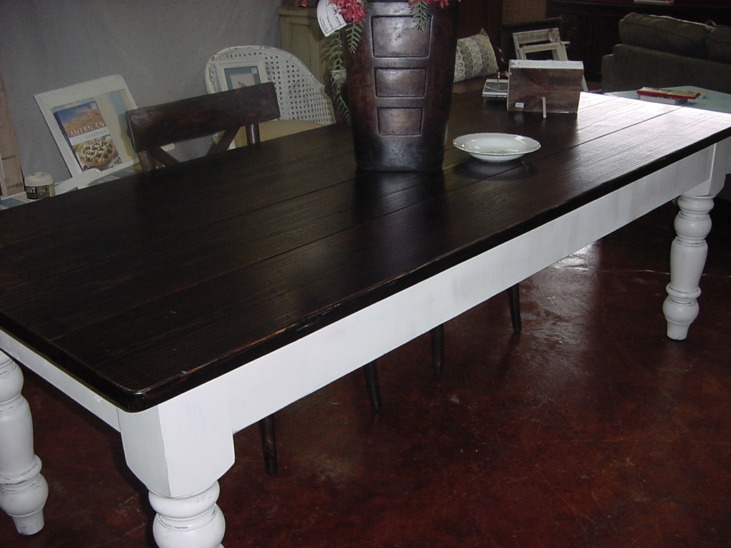 large 7′ 7″ country chic alabama farm table – seats 8-10 | just