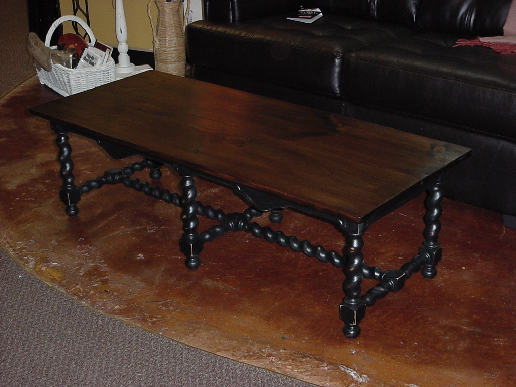 Stained Top Coffee Table On Barley Twist Base Approx 24 X 53 Just Fine Tables