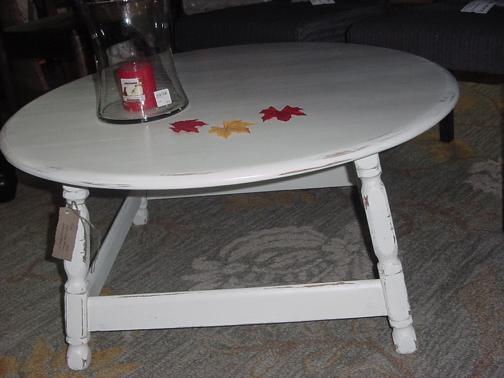 Round distressed cottage white coffee table just fine for Distressed white round coffee table