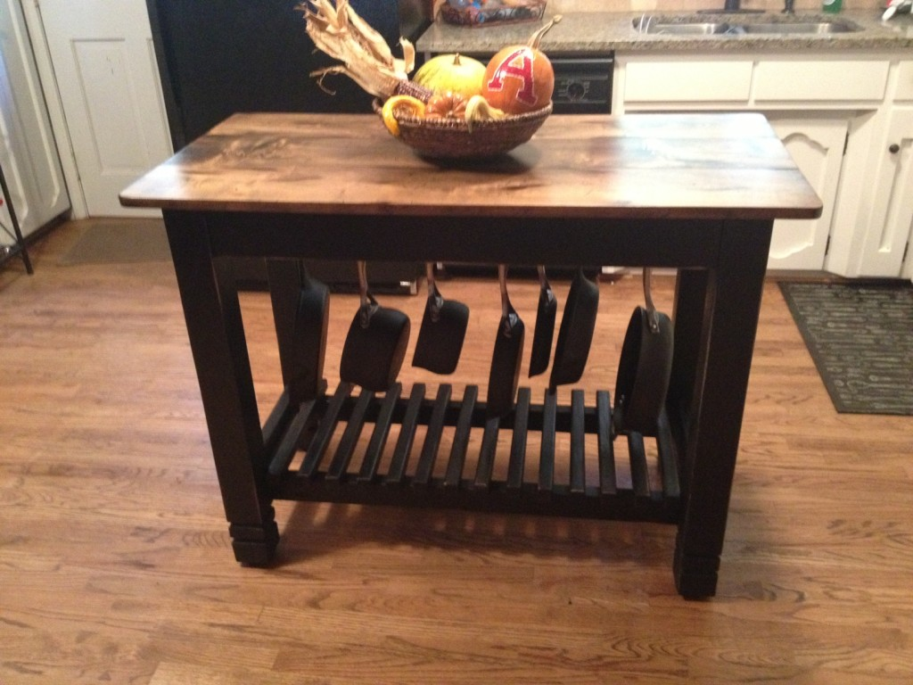 24 x 48 hand built kitchen island with pots pans for Kitchen island table