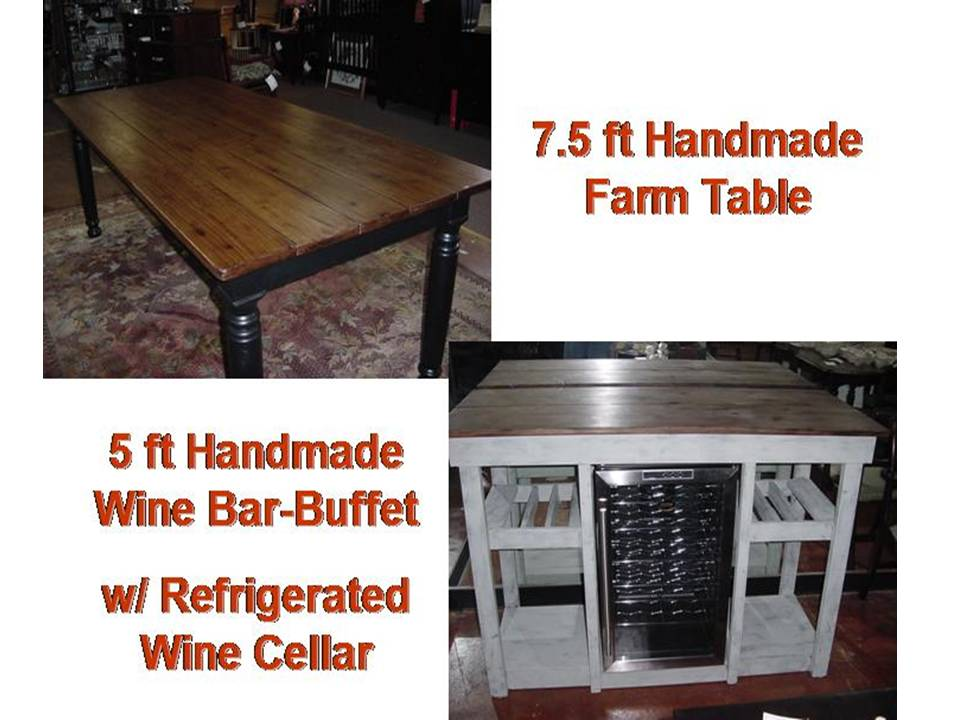 Hand Built COUNTRY FARM TABLE and Hand Built WINE BAR - BUFFET TABLE - Hand Built COUNTRY FARM TABLE And WINE BAR BUFFET TABLE Just