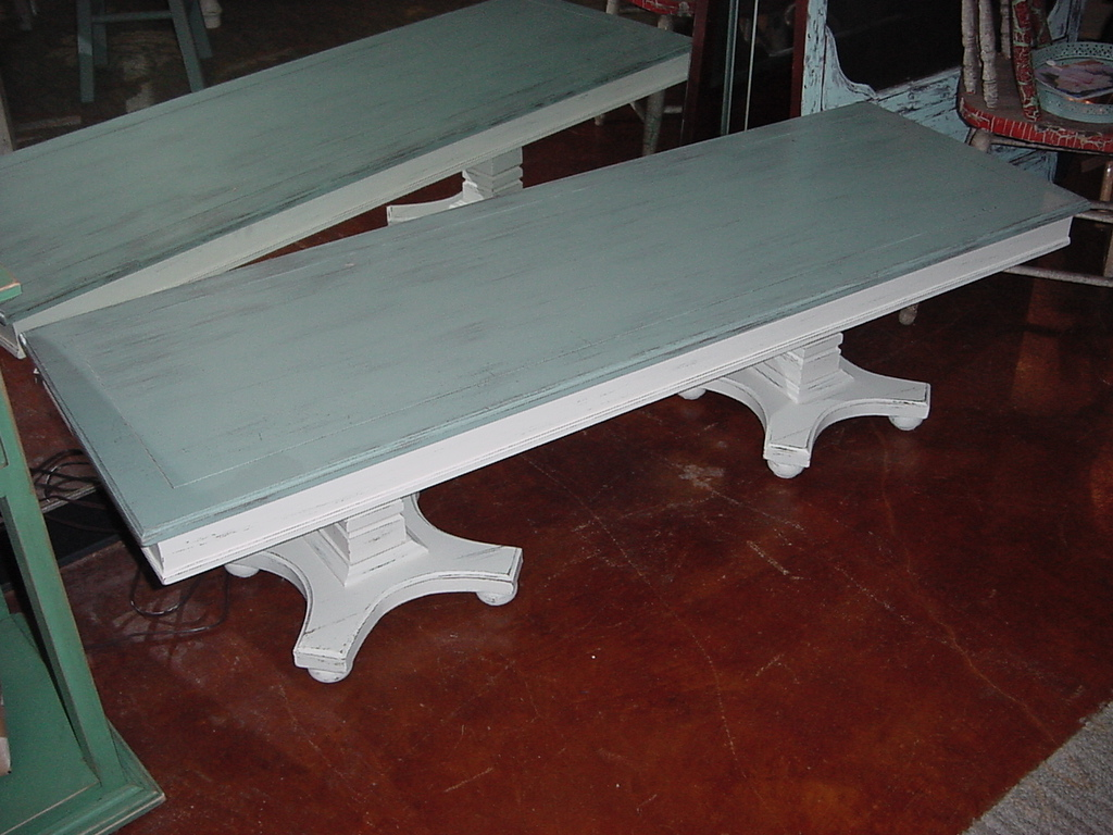 20 x 60 distressed dual pedestal coffee table just for Coffee table 48 x 36
