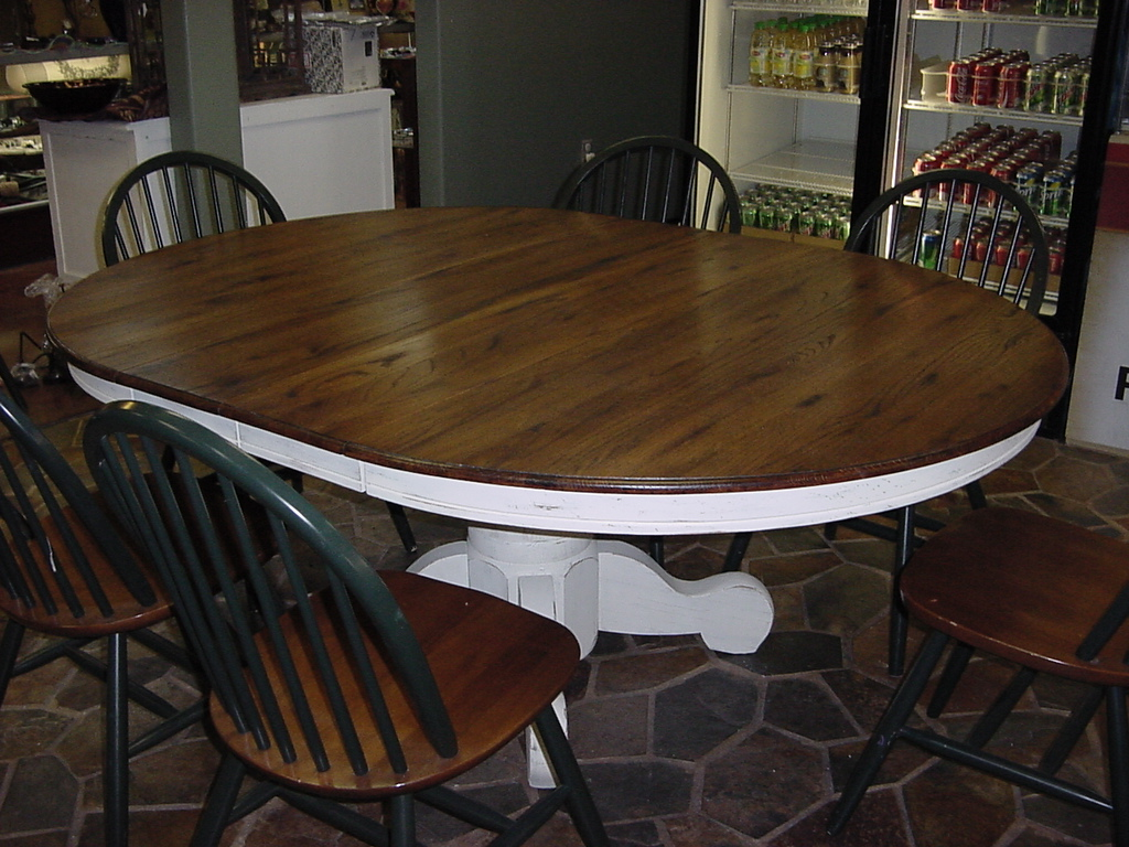 "54"" ROUND ""Solid Oak"" PEDESTAL TABLE Just Fine Tables. Full resolution‎  portraiture, nominally Width 1024 Height 768 pixels, portraiture with #5C4326."