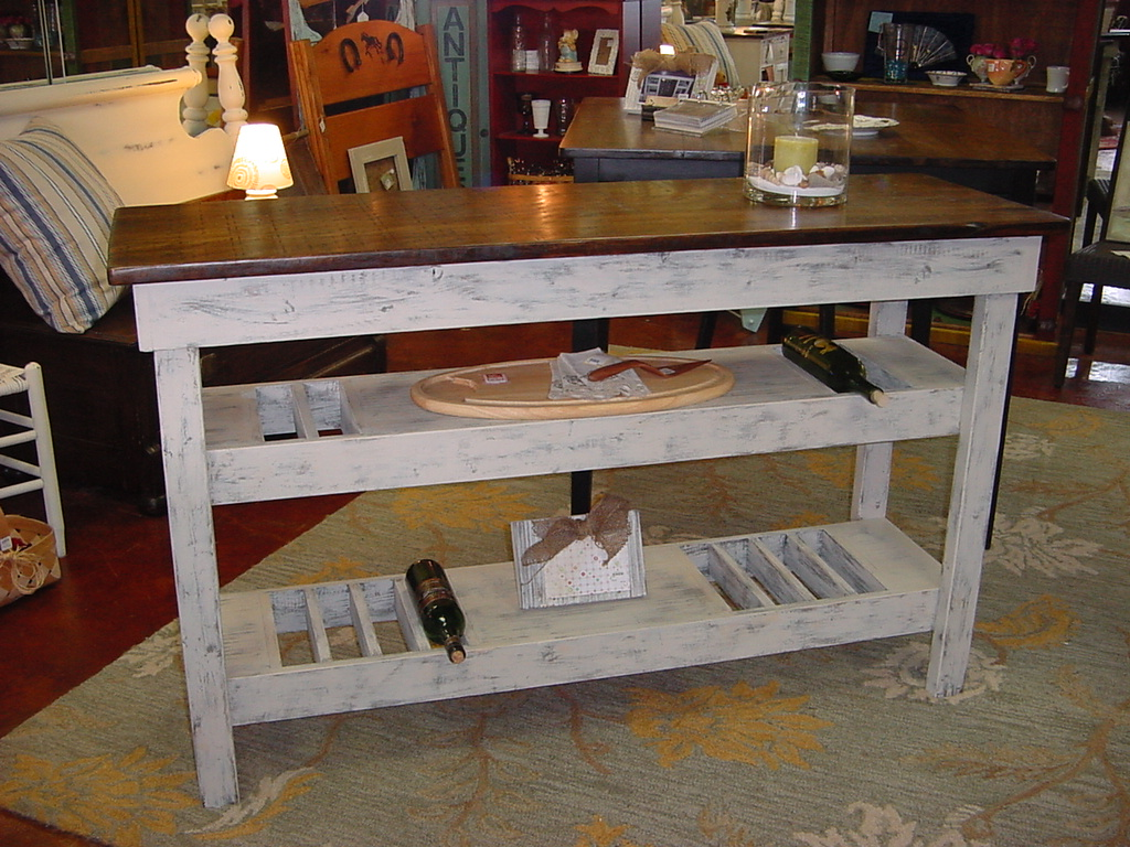 Custom Wine Bar Buffet Table and Restored Antique Bench | Just ...